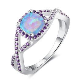 Wholesale Moonstone Amethyst Ring - Fairly Amethyst Moonstone Opal Pandora Rings 925 Sterling Silver Promise Engagement Rings Opal Gemstone Rings For Women