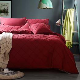 Wholesale Grey Orange Duvet - Luxury Solid Color Bedding Set Sanding Red Blue Pink Grey Orange Purple Duvet Cover Queen Size Flat Sheet Bedspread Home Textile