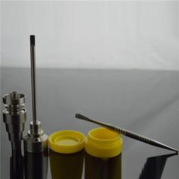 Universal Domeless Titanium Nail Titanium Nail Carb Cap 1x Dabber Tool 1x Tarro de silicona Dab Container Concentrado de aceite Kit Bong Tool Set desde fabricantes