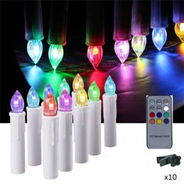 Wholesale Light Tapers - 10Pcs Battery power flickering RGB Tea Flameless Remote Control LED taper Candle Light Wedding Xmas Party tree+12 key controller