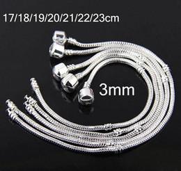 Wholesale Wholesale 3mm Rhinestones - Mixed Size 925 Sterling Silver Bracelet European Style Bead Fit 3mm Snake Chains Bracelet 17-23CM,Unisex Bracelets High Quality