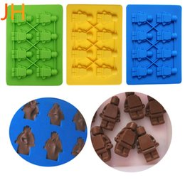 Wholesale Mini Chocolate Cakes - Wholesale- Christmas Lego Robot Mini Ice Cube Tray Silicone Cake Mold DIY Jelly Candy Sweet Chocolate Mold Kitchen Accessories MK1140