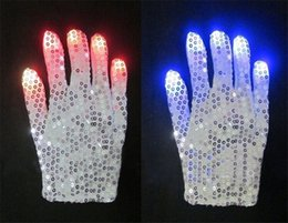 Wholesale Glow Gloves Fingertips - 50 Pairs Lot Flashing Fingertip Light 6 Mode LED Sequins Gloves Rave Light Up Finger Lighting Flashing Glow Mittens Rave