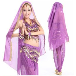 Wholesale Indian Pants Sets - 2015 Oriental Professional Bollywood Indian Dance Dresses 4 Pieces Pant&Belt&Top&Veil Belly Dancing Costume Set For Women 8 Colors