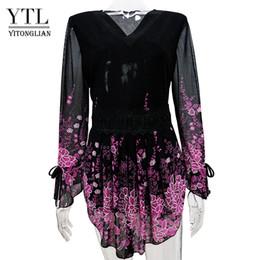 Wholesale Retro Kimono - Yitonglian Plus Size Women Clothing Winter Vintage Retro Floral Lace Wrap Top Female Knitted Tunic Long Sleeve T-shirt Tee Kimono M-8XL H018