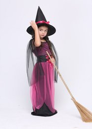 Wholesale Party Dresses For Teenage Girls - Halloween Witch Costume For Kids Girls Beautiful Long Sleeves Dress With Hat Carnival Cosplay Party Witch Perfomance Costume