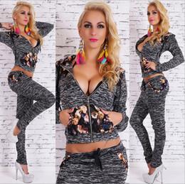 Wholesale Velour Jogging Suits Women - 2016 Spring Autumn Women Fashion Tracksuits European Casual Sports Suit Hoodies Patchwork Print Floral Women's Two-piece Jogging Suits