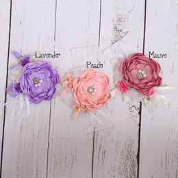 Wholesale Satin Flower Headbands - Satin Flower Headband Layered Flower Matching Sparking Rhinestone Lace Headband Baby Headband Luxe Headband 15pcs lot