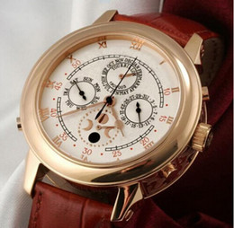 18 relógios de ouro Desconto Famosa Marca New Mens Luxo Mecânico Automático Rosa de Ouro 18 K Sky Fase da Lua Relógio Marrom de Couro Genuíno Ocasional dos homens Relógios Esportivos