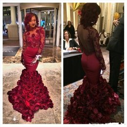 Wholesale Sequin Bra Dress Size 16 - 2016 Romantic Red Evening Dress Mermaid With Rose Floral Ruffles Sheer Prom Gown With Applique Long Sleeve Prom Dresses With Bra