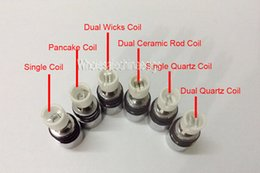Wholesale Wholesale Ceramic Skull - 6 Types Dual Wax Coil of Ceramic Rod Quartz Coil Pancake Replacement Core for Electronic cigarette Glass Globe Vaporizer Skull Vhit Tank