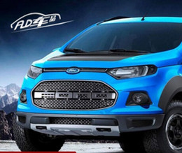 Wholesale Mesh Grills For Cars - F150 ABS Chrome Car front bumper Mesh Grille Around Trim Racing Grills Fit For Ford Ecosport 2013 2014 2015