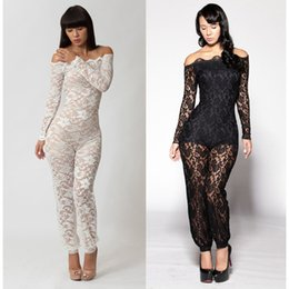 Wholesale Thrilling Lace - Clearance Sale 2014 See Through Sexy Thrilling Floral Lace Rompers Long Sleeve Elegant macacao femininos Jumpsuit Women