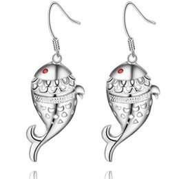 Wholesale Fish Dating - Foreign jewelry plating Silver Earrings 925 new diamond earrings and popular spot fish AE887