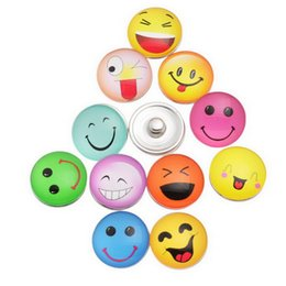 Wholesale Cheap Chunk Bracelets Buttons - Smile Noosa Chunks Leather Bracelet Snap Charms Beads Mixed Colour Interchangeable Noosa Jewelry Snap Button Mogo Beads for Necklace Cheap!