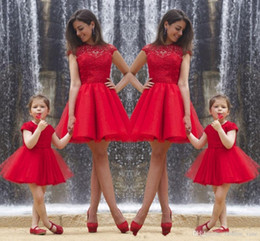 Wholesale Portrait Photos - 2017 real photos mother and daughter dress jewel capped sleeves lace formal party gowns red tulle a line short prom dresses