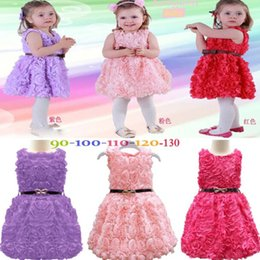 Wholesale Girls Layered Lace Dress - 2015 new sleeveless waist rose dress girls toddler 3d rose dress girls girls 3d flower tutu layered princess dress Bow certified by CTI-USA