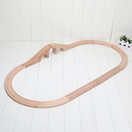 Wholesale Baby Tracking - 12pcs set Beech wood Tomas and Friends railway train Track set Wooden slot toys for baby free shipping