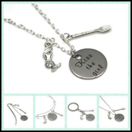 Wholesale Kiss Charm Pendant - 12pcs lot The Little Mermaid quote Kiss the Girl necklace bracelet keyring bookmark mermaid and fork charm necklace