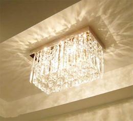 Wholesale Rain Ceiling Lights - Modern Fashion Glass K9 Crystal Chandeliers Rectangle Ceiling Light Living Room Aisle Bedroom Chandelier Rain Drop Design Ceiling Lamp light