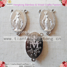 Wholesale Catholic Medals Wholesale - Wholesale-Free ship 80pcs pack three hole alloy rosary centerpieces,Oval centre piece catholic Charm,Miraculous Mary Medal Rosary Part
