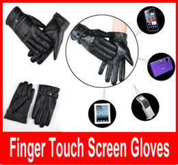 Wholesale Waterproof Touch Screen Gloves - Cool Black Leather Winter Outdoor Cycling Motorcycle Men Full Finger Touch Screen Warm Gloves For Iphone Ipad Mobile