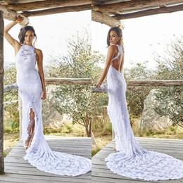 Wholesale Halter Collar Wedding Dresses - 2018 Boho Lace Bohemian Wedding Dresses Front Split Beach Court Train Halter Sheer Backless Mermaid Bridal Gowns