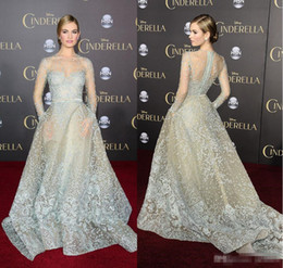Wholesale Celebrity Inspired Dresses Elie Saab - 2018 Elie Saab Sky Blue Formal Celebrity Evening Dresses With Long Sleeves Lace Pockets Sweep Train Sexy See Through Prom Pageant Part Gowns