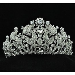Wholesale Big Crown Wedding - Popular Austria Rhinestones Leaves Big Tiara for Wedding Bridals