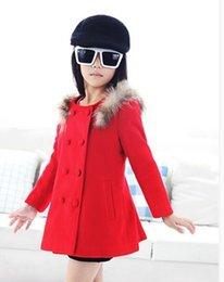 Wholesale Girls Bow Jacket - BABY Girls Autumn Winter Wool classic coats fashion red warmly gentle Jackets kids Wool blends children's Woollen coat