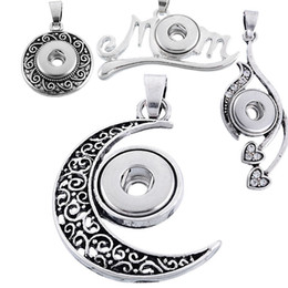 Wholesale Earring Pendants - NOOSA snap chunk button mom heart moon pendant buttons clasps for noosa necklace earring bracelets DIY noosa jewelry 160742