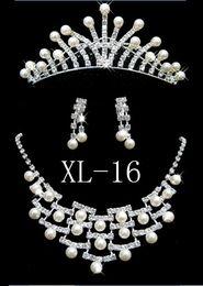 Wholesale Wedding Jewelry Sets Crowns - A044 Crown Tiara Wedding Bride Jewelry 3 pcs per set Necklace earrings crown hair jewelry set B18