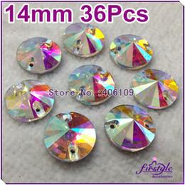 Wholesale 14mm Flatback Rhinestones - 36Pcs Lot 14mm Round Crystal Rivoli Flatback Sew On Rhinestone Crystal AB Silver base 2holes chaton beads