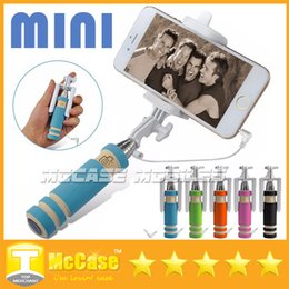 Wholesale Wire Holder Clips - Portable Mini Selfie Stick Cell Phone Clip Holder All IN ONE Cable Take Pole Wired Control Monopod For iPhone Samsung