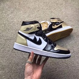 Wholesale Shoe Materials - 2017 Air Retro 1 High OG NRG Gold Top 3 Authentic Quality Real Leather Original Material Man Basketball Shoes 861428-001 Sneakers 7-13