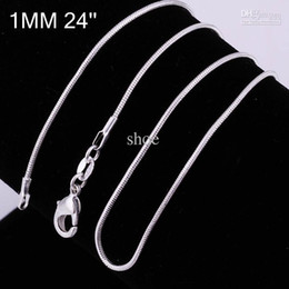Wholesale 18 Copper Chain Necklace - Epack 925 Silver plated Smooth Snake Chains Necklace Lobster Clasps Chain 16 18 20 22 24inch