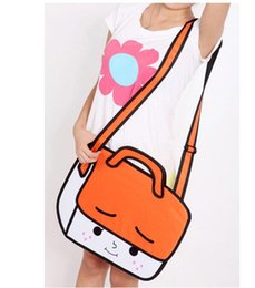 Wholesale 2d Handbags - Cartoon 3D 2D Oxford Cloth Shoulder Bags 3D 2D 3D Three Colors Bag Handbags Purse 2016 Spring Hot Sale
