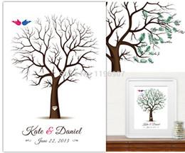Wholesale Thumbprint Tree Wedding Guest Book - estive Party Supplies Event Party Supplies 40x60CM Personalize Canvas thumbprint wedding tree guest book Alternative Fingerprint Tree wed...