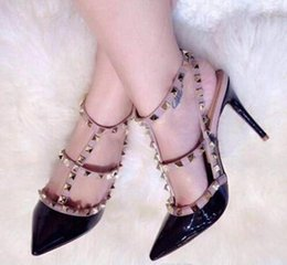 Wholesale Stud Heel Shoes - 2017 luxury brand design Patent Leather Women Stud Sandals Slingback Pumps Two Ankle Buckles Ladies Sexy High Heels Neon Color Wedding Shoes