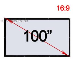 Оптовая продажа-100 дюймов 16: 9 экраны проекции ткани фильма ко всем Репроекторам домашнего кинотеатра фильма ХД, на открытом воздухе занавесам Пеликула, cheap movie screens от Поставщики киноэкраны