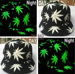 Wholesale Sell Spring Letter - Hot Sell Luminous Night Glow Baseball Hat Hip-hop Leaf Pot Fashion Flat Bill Snapback Baseball Cap Five Pieces One Set MYF219