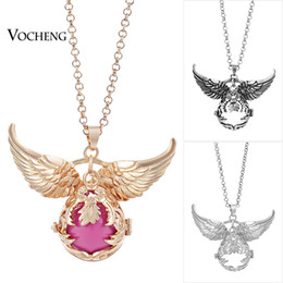 Wholesale Long Flower Crystal Pendant Necklace - Chime Harmony Long Pendant Necklace Hollow Flower Jewelry Angel Wings Accessories Pendants with Stainless Steel Chain VOCHENG VA-100