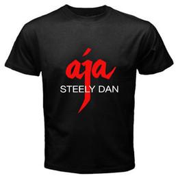 Wholesale Cool 3d Logos - New Steely Dan *AJA Logo Music Legend Men's Black T-Shirt Size S M L XL 2XL 3XL Cotton Cool Design 3D Tee Shirts