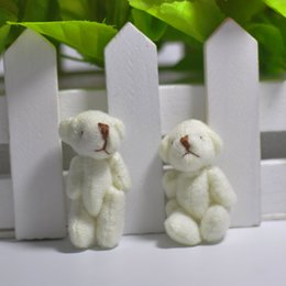 Wholesale plush keychain bear - Wholesale 4CM Plush Mini Lovely Teddy Bear Stuffed Animals Pendant For Keychain Bouquet jewellery accessory gift Urso De Pelucia Oso