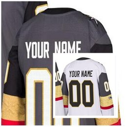 Wholesale Golden Anniversary - 2017 Mens Womens Youth Custom Any Name & Number Personalized Ice Hockey Jerseys Vegas Golden Knights 100th centennial anniversary Grey White