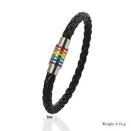 Wholesale Cheap Rainbow Bracelets - 2016 LGBT rainbow bracelets new arrival Titanium steel made gay&lesbian pride bracelets cheap price free shipping
