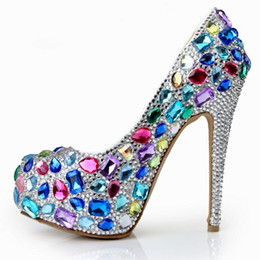 Wholesale Platform T Strap - Luxury Rhinestone Crystal Wedding Dress Shoes Platform Round Toe Stiletto Heels Fashion 14cm Prom Party Evening Bridal Accessories 2017