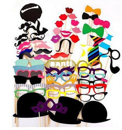 funny easter hats Promo Codes - 58pcs set Funny Photo Booth Props Hat Mustache On A Stick Wedding Birthday Party Favor