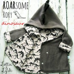 Wholesale Jackets For Infants Boys - INS Xmas Kids cute dinosaur lining jacket for 1-3T infants newborn baby fleece hooded animal print casual coat ins hot for boys girls