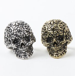 Wholesale Silver Skull Ring Alloy - 10pcs lot Hot 2Colors Retro Royal Flower Carved Skull Rings Silver Bronze Plated 3D Ring mic